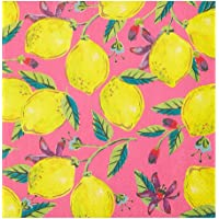 Talking Tables Pack of 20 Pink Lemon Print Paper Napkins   Disposable Serviettes, Tableware for Indoor or Outdoor Dining…