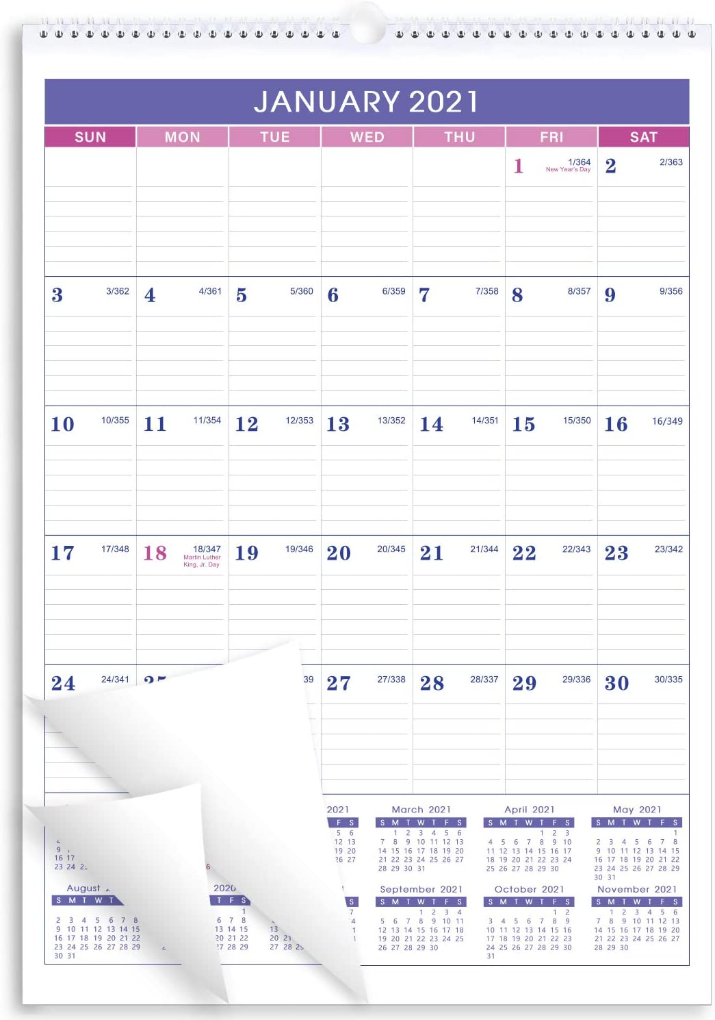 "Calendar 2021-12 Monthly Wall Calendar Planner Jan 2021 - Dec 2021, 12"" x 17"" Twin-Wire Binding, Large Blocks with Julian Dates, Perfect for Planning and Organizing Your Home and Office"
