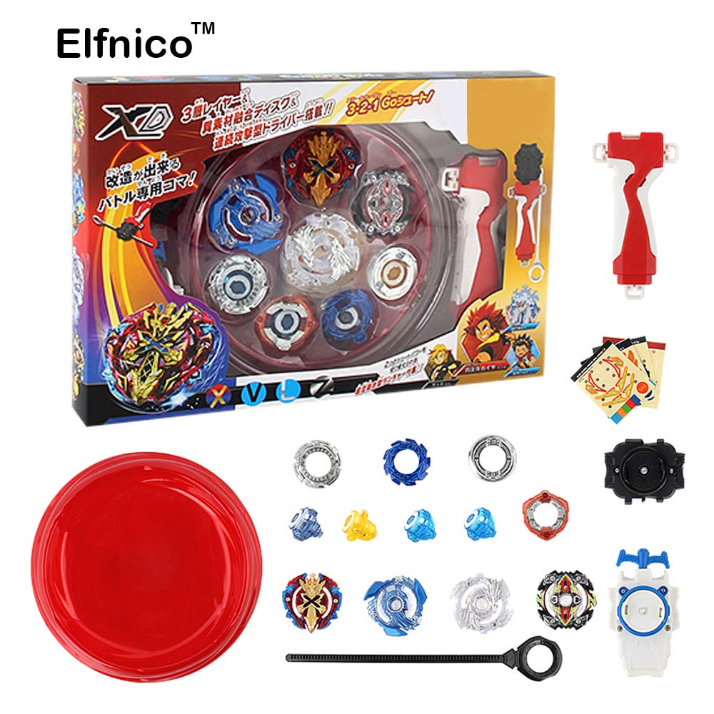 Elfnico High Performance Burst Battling Top Fusion Metal Master Rapidity Fight with Launcher Grip and Stadium Battle Set