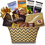 Stylish Chocolate Gift Basket Basket Filled with Goodies from Lindt & Ghirardelli - Great Gift for Mother's Day