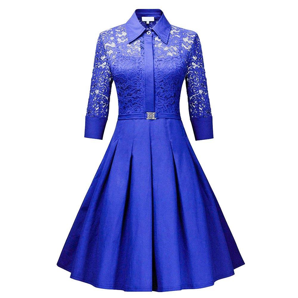 RoseGal Vintage Años 50 Encaje de mecánico de la Mujer 3/4 Manga Recta Falda Swing Camiseta de una línea de Vestido Azul Azul Real S: Amazon.es: Ropa y ...