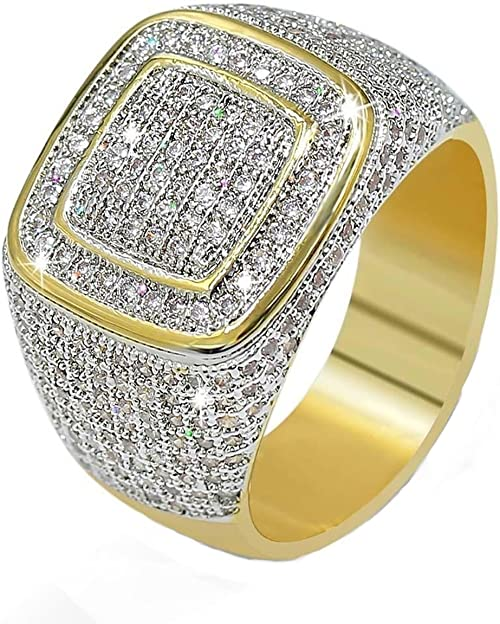 Jalash Mens Wedding Band Ring with White Round CZ Diamonds in Yellow Gold Plating Gift for His