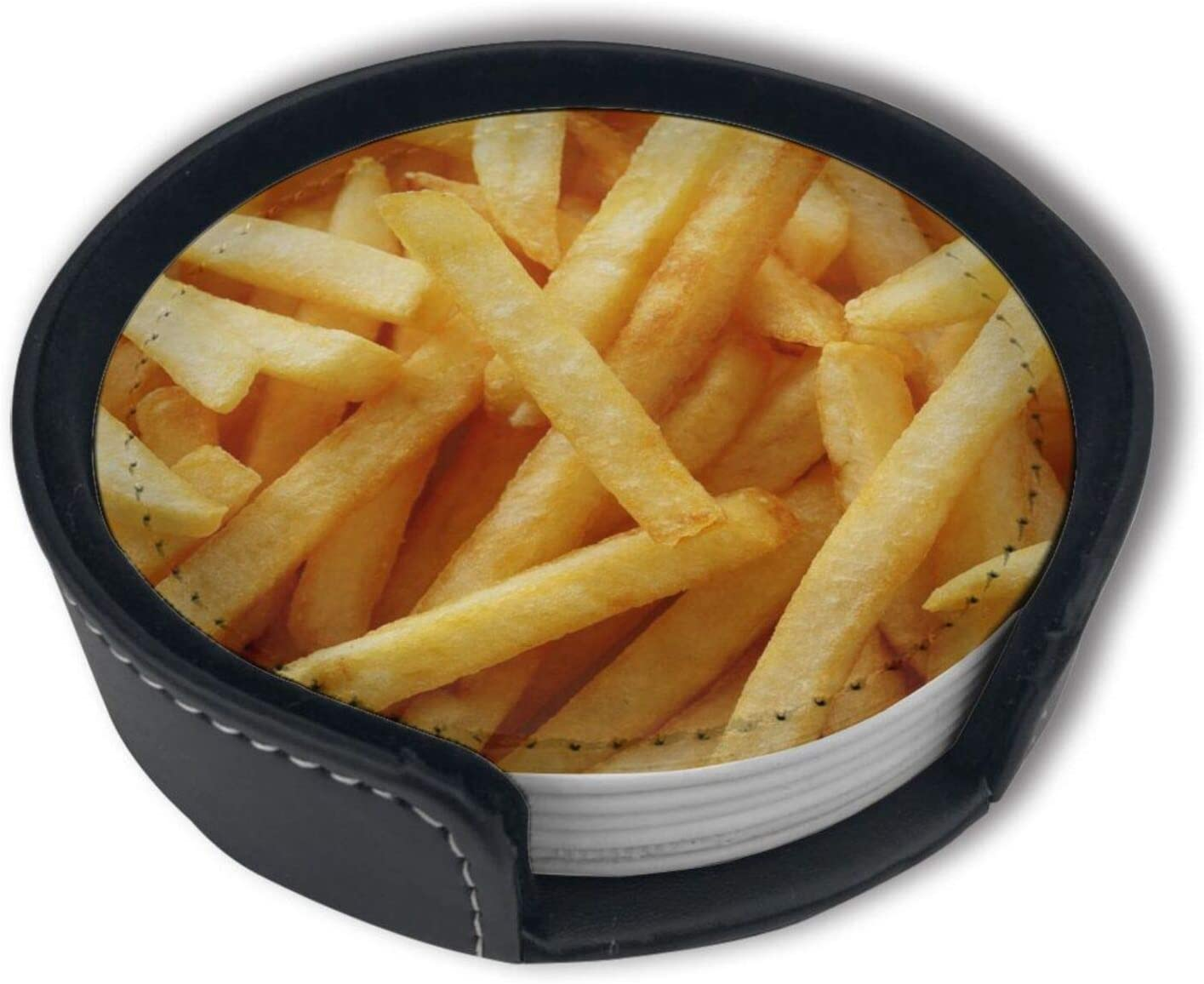 Fast Food Secrets French Fries Leather Coasters For Drinks, Round Absorbent Coasters With Holder, For Kinds Of Mugs And Cups, For Home Bar Car - Set Of 6