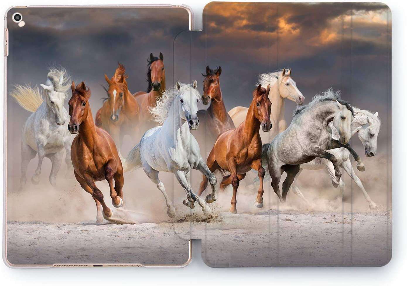 Wonder Wild Running Horses Apple iPad Pro Case 9.7 11 inch Mini 1 2 3 4 Air 2 10.5 12.9 11 10.2 Design 5th 6th Gen Clear Smart Hard Cover Nature Animals Sunset Realism Gallop Clouds Tribe World