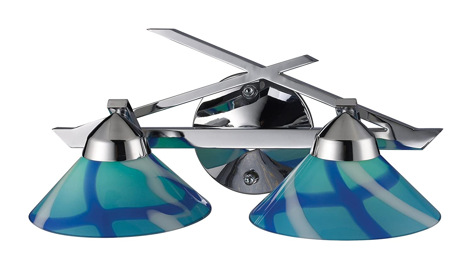 Elk 1471 2CAR 2-Light Wall Bracket In Polished Chrome and Caribbean Glass