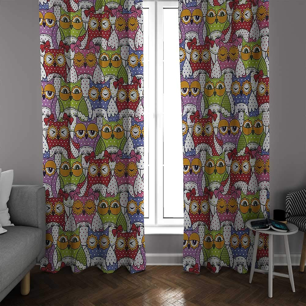 bybyhome Owl Thermal Insulated Blackout Curtains Ornate Owl Crowd with Different Sights and Polka Dots Like Matryoshka Dolls Fun Retro Theme Drapes Panels Multi W108 x L96 Inch by bybyhome (Image #2)