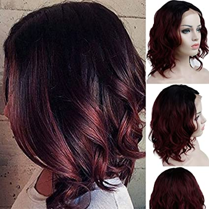 Glueless Lace Front Wigs Long Natural Water Wave Swiss Black To Wine Red Synthetic Lace Front Wig Natural Hairline Heat Resistant Fiber Lace Wigs For Women by Sego