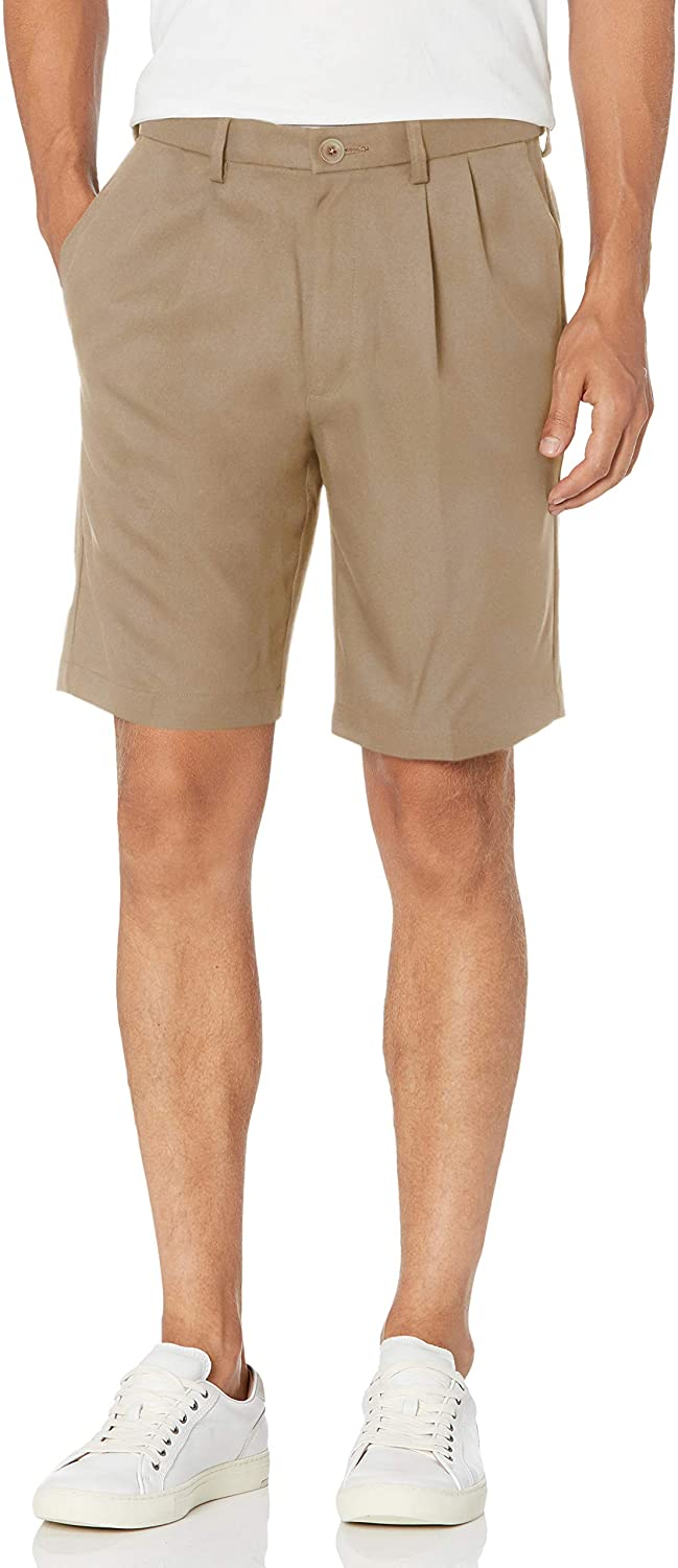 Haggar Men's Cool 18 Pro Pleat Front 4-Way Stretch Expandable Waist Short- Regular and Big & Tall Sizes at  Men's Clothing store