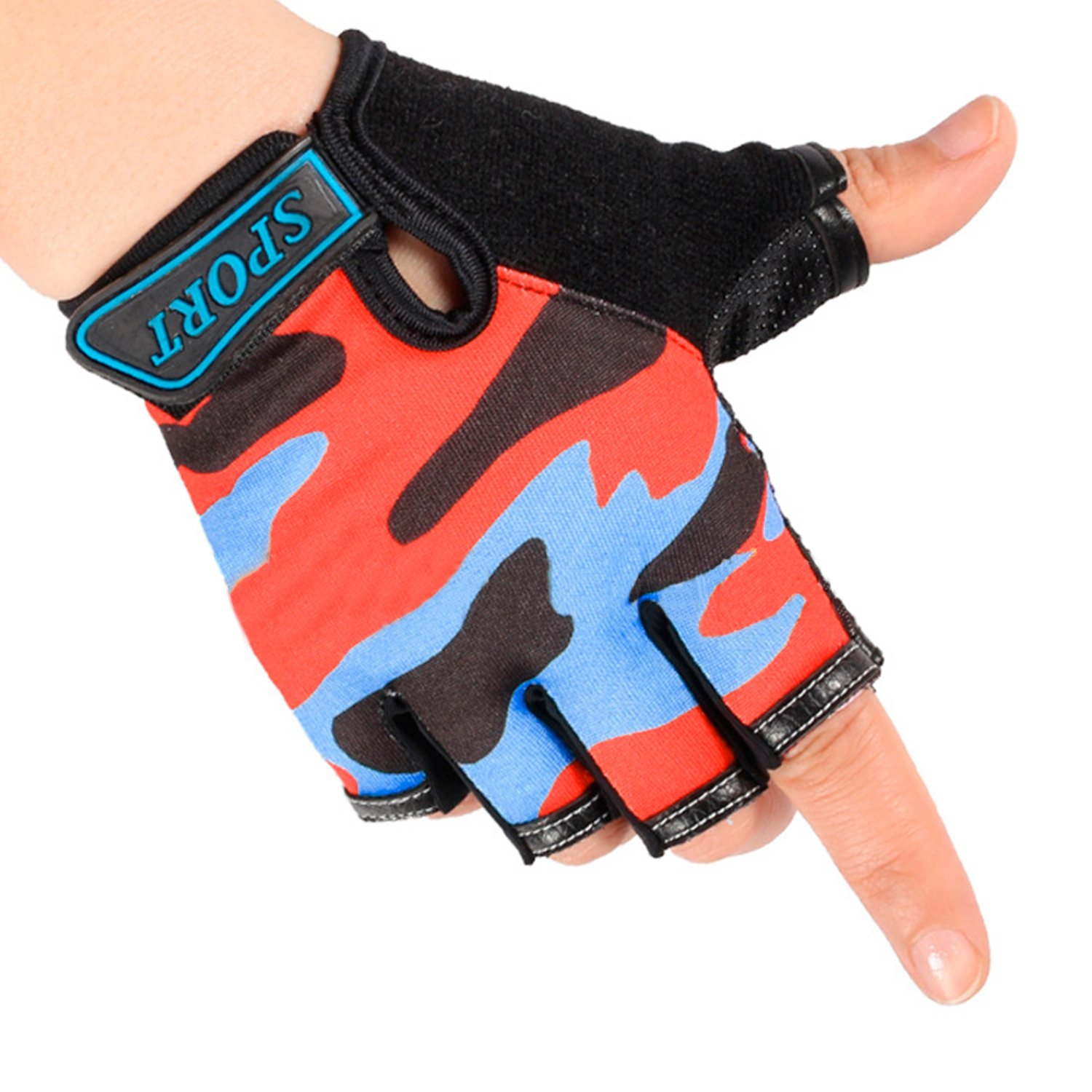 Kids Boys Girls Women Men Small Hand Half Finger Summer Bicycle Cycling Gloves Roller-skating Gloves Breathable Outdoor Sports Cycling Riding Climbing Scooter Bike Gloves Gift