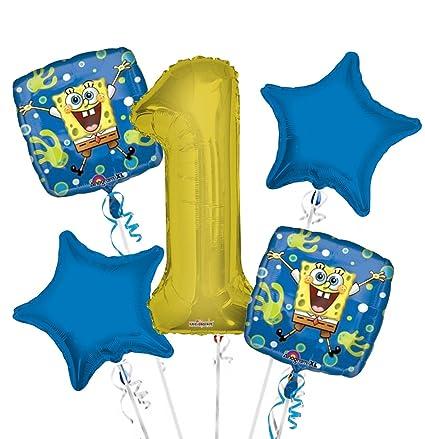 Amazon.com: Bob Esponja Globo Ramo 1er Cumpleaños 5 Pcs ...