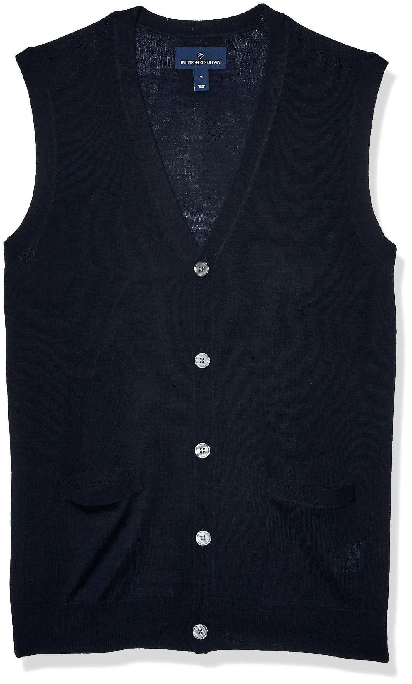 Amazon Brand - Buttoned Down Men's Italian Merino Wool Lightweight Cashwool Button-Front Sweater Vest, Midnight Navy Medium by Buttoned Down