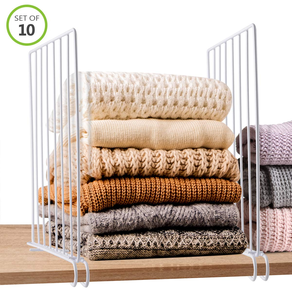 Tiawudi Closet Wood Shelf Divider, 10 Pack Metal Wire Closet Shelf Organizer, Separator for Office Bathroom, Bedroom and Office Shelves, Easy Installation