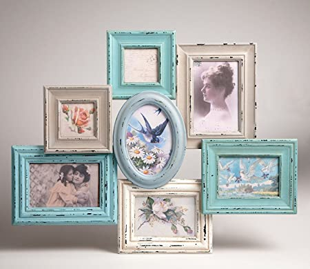Delilah Collage Multi Frame - Blue and Cream - 7 Frames: Amazon.co ...
