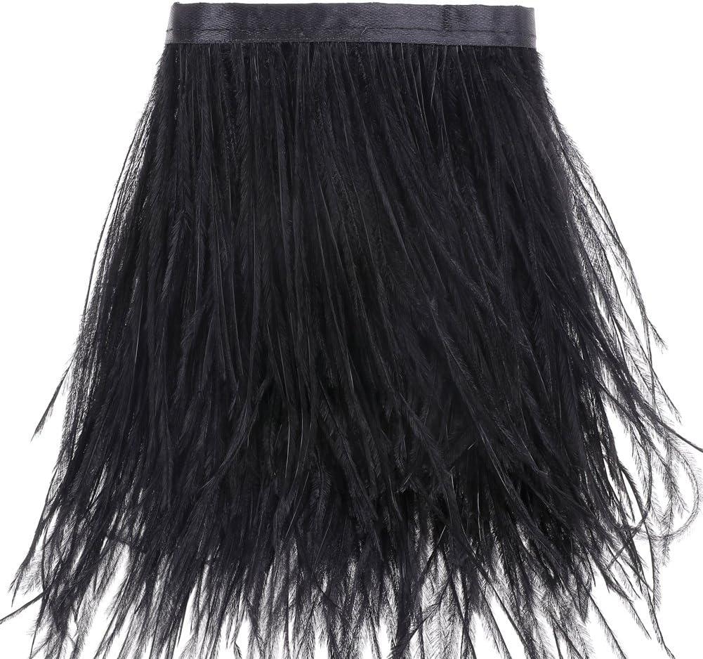 Ribete de flecos de plumas de avestruz, para costura, manualidades, disfraces, decoración, 1,83m negro