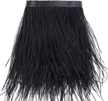 Black Ostrich Feathers Trims Fringe with Satin Ribbon Tape for Dress Sewing Crafts Costumes Decoration Pack of 2 Yards