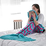 Mermaid Tail Blanket Crochet and Mermaid Blanket for Adult Girlfriends Mothers,Super Soft All Seasons Sleeping Gifts Blankets,76.7''-37.5'' (Rose Red & Blue)