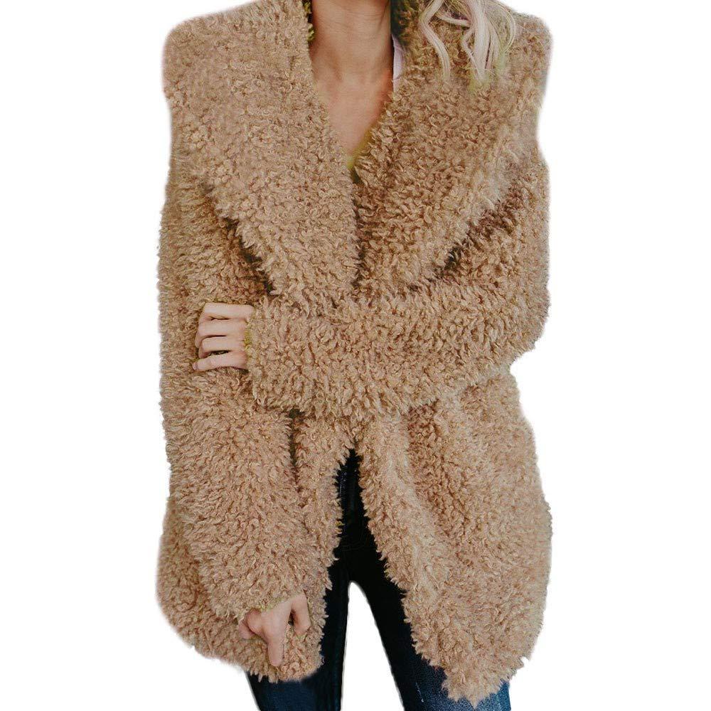 AHUIGOYCE Women Fuzzy Fleece Jacket Winter Oversized Open Front Lapel Cardigan Thick Warm Overcoat Parka Outerwear Khaki by AHUIGOYCE