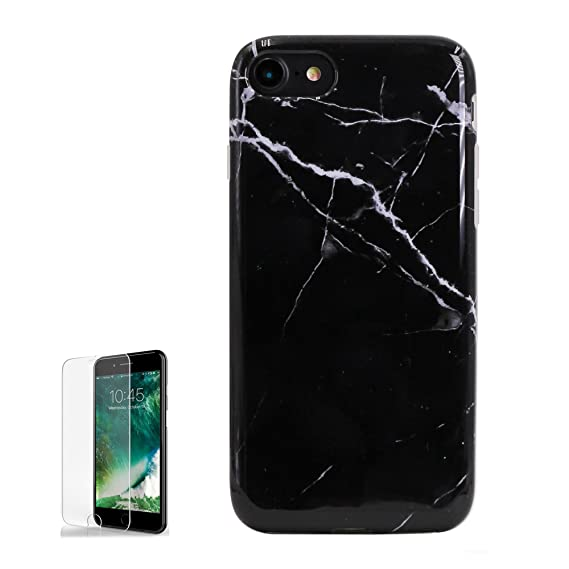 wholesale dealer 31044 b1a2a Black Marble iPhone 7/8 Case with Screen Protector Full Body Protection  Shock Proof Clear Bumper Protective Silicone Rubber Phone Cases IMD Glossy  ...