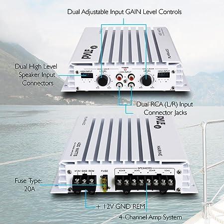 scooter de mer etc. Amplificateur Pyle /étanche avec 4 canaux et une puissance de 1000 Watts Id/éal pour bateau Amplificateur MOSFET pontable