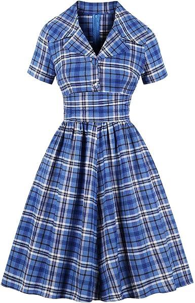 Wellwits Vestido de Camisa Vintage para Oficina con Cuello de Solapa y Escote a Cuadros para Mujer - Azul - 12 Más: Amazon.es: Ropa y accesorios