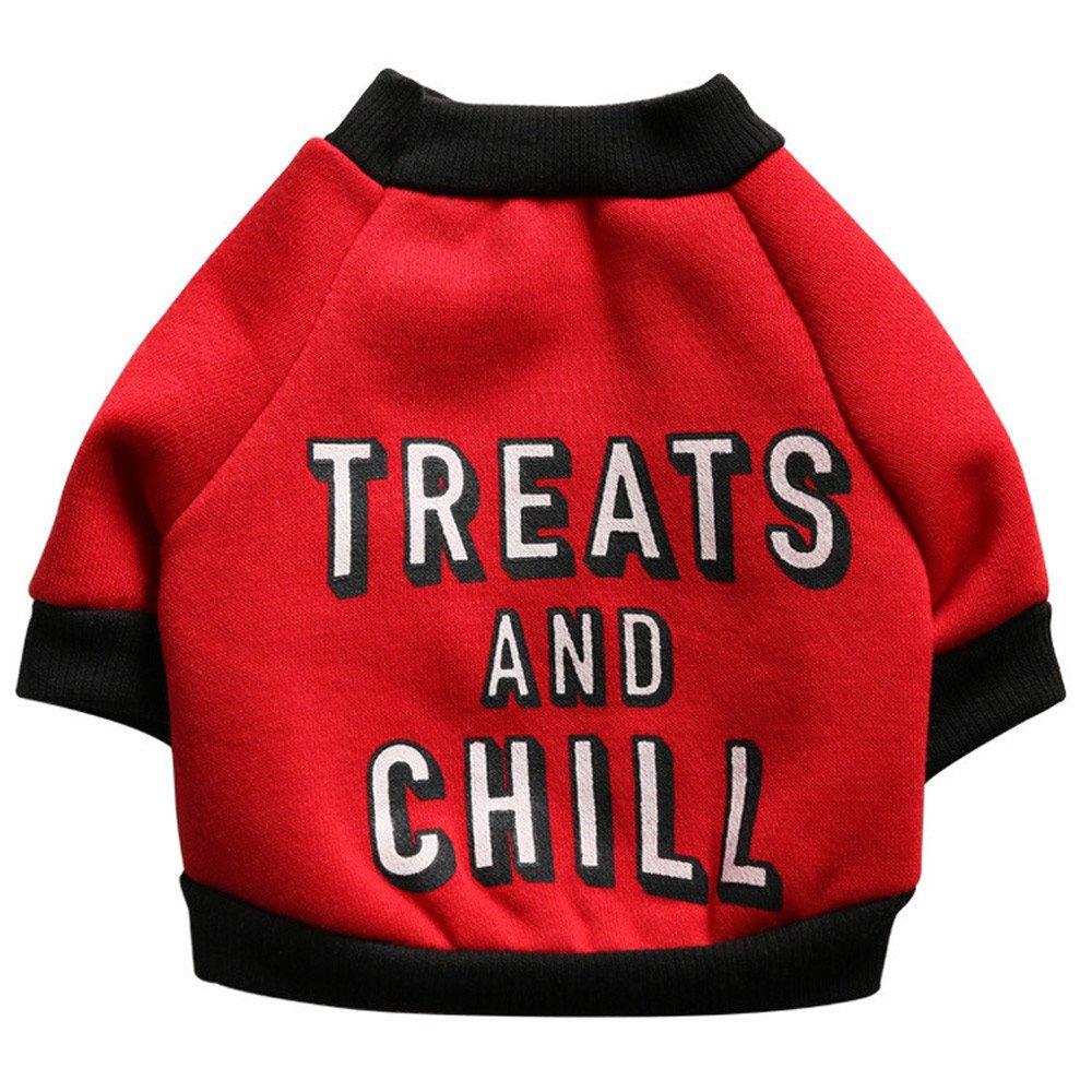 Pet Shirt Daoroka Small Large Dog Cat Costume Puppy Vest Summer Letter Sweatshirt Girl Boy Pet Clothes Fashion Apparel (XS, Red 3)