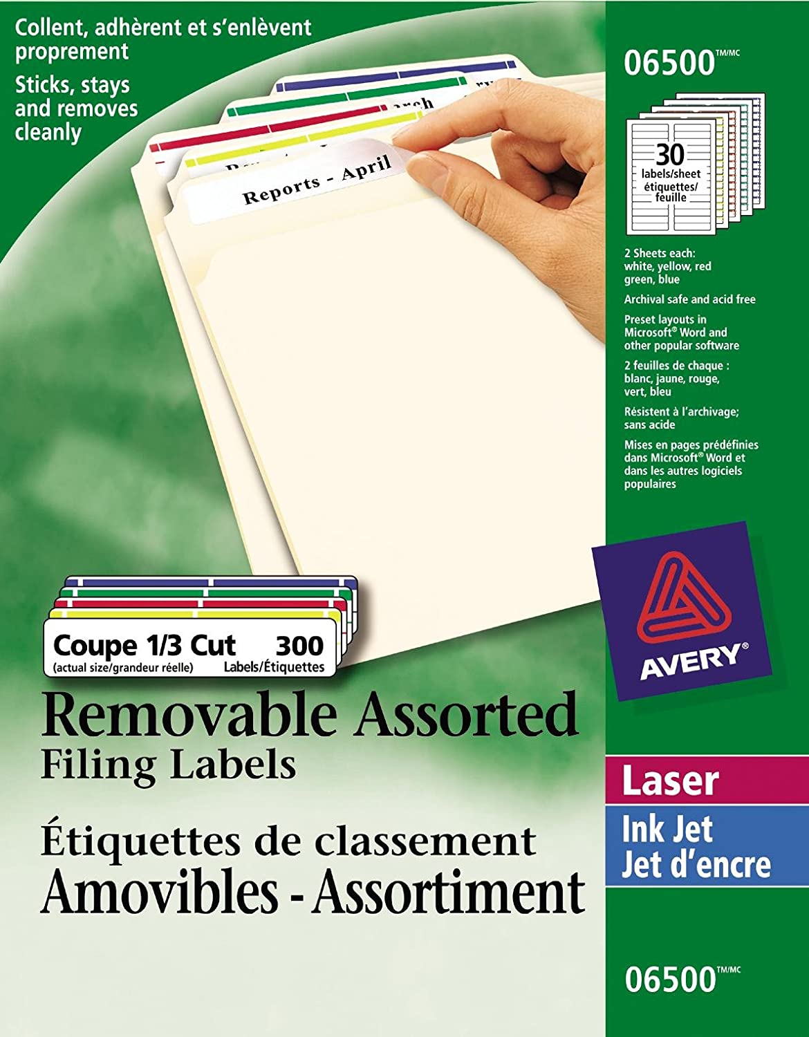 Avery Removable Filing Labels for Laser and Inkjet Printers, 3-7/16 x 2/3, White, Rectangle, 300 Labels, Removable (6505) 3-7/16 x 2/3 67933065056