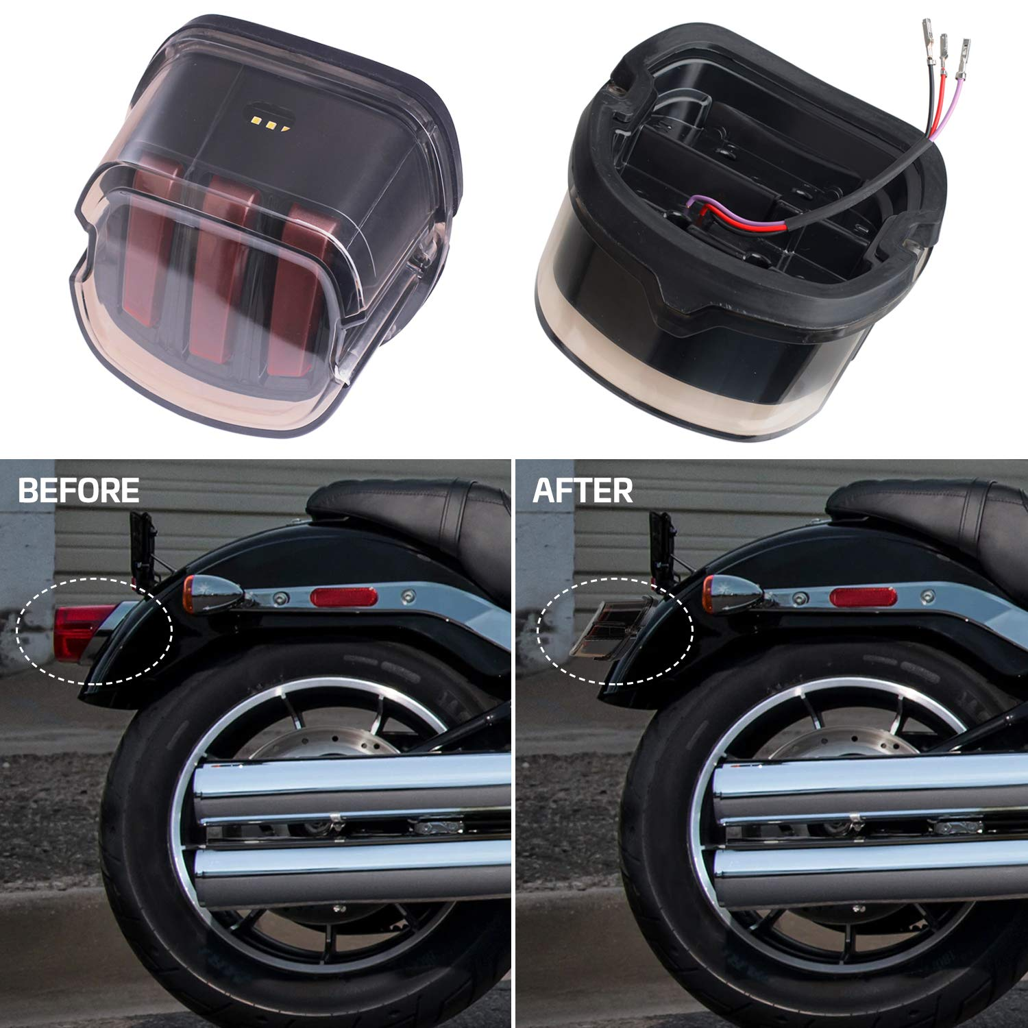 Dyna NTHREEAUTO for Harley Road King LED Tail Lights Smoked Low ...