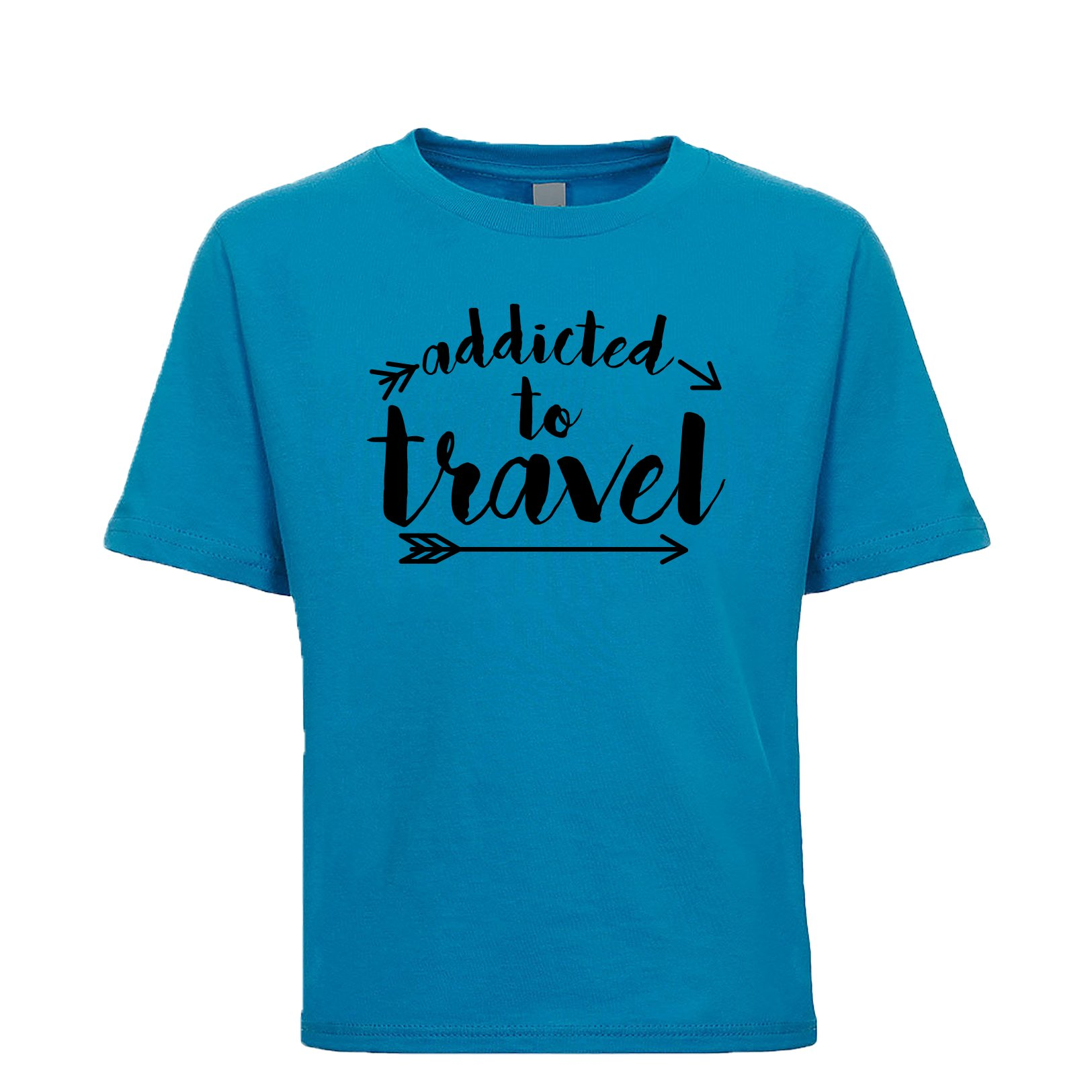 Shirtgoals Addicted to Travel Unisex Kids Tee Turquoise X-Small