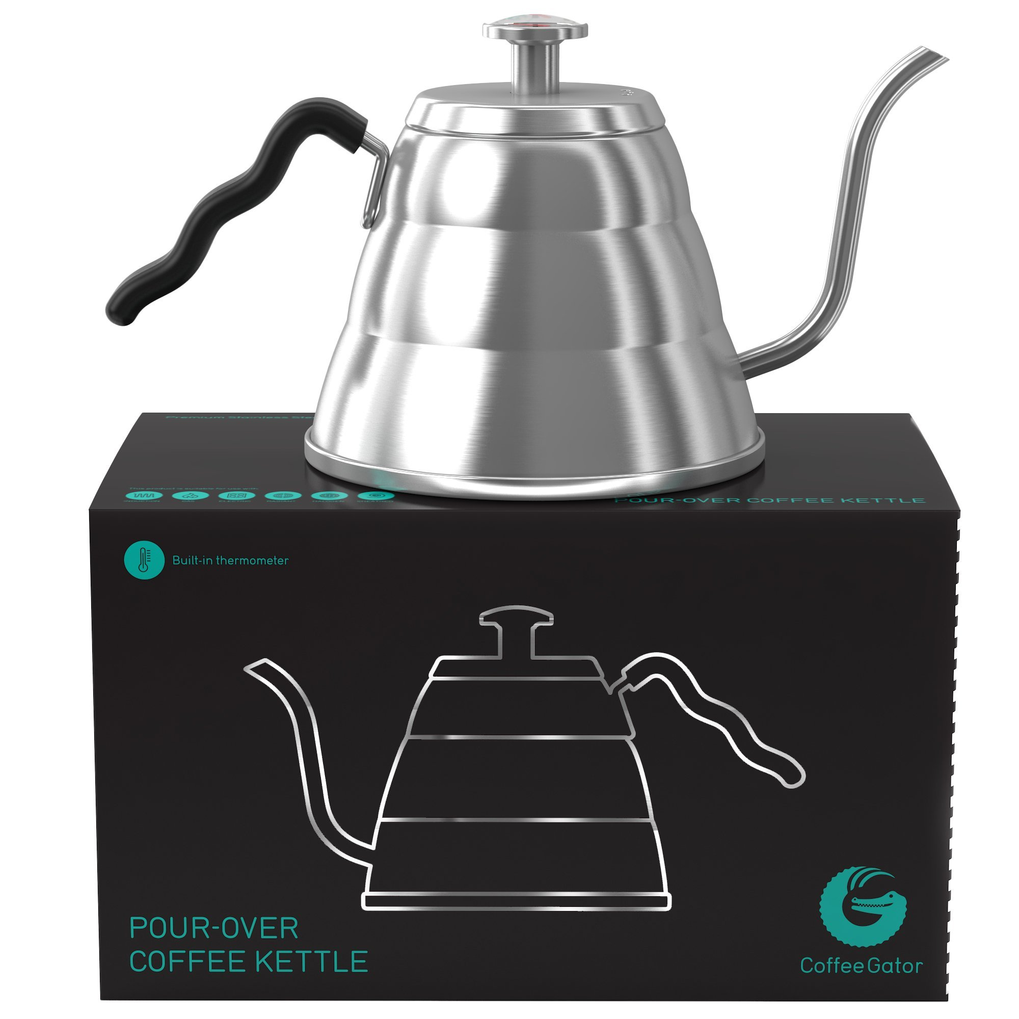 Coffee Gator Pour Over Kettle - Fixed Thermometer for Exact Temperature (34floz)