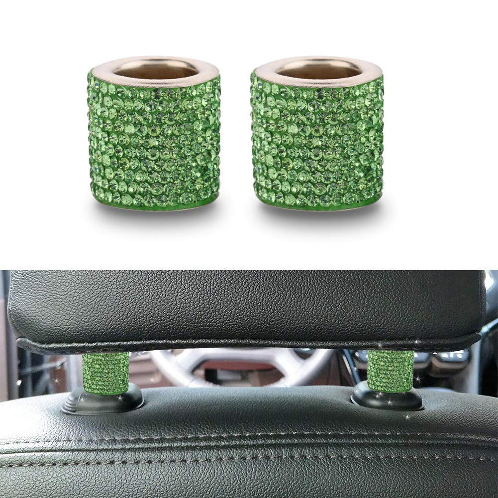 RENNICOCO Car Headrest Collar Fashion Cylindrical Bling Crystal Auto Seat Headrest Ring Charms Universal Car Interior Decor Accessories