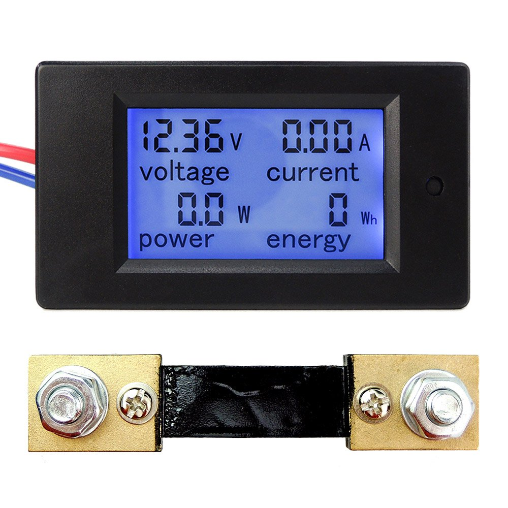 uniquegoods DC 6.5 12V 24V 48V 100V 100A Large LCD Display Digital Combo Panel Meter Current Voltage Power Energy Meter Multimeter Ammeter Voltmeter with 100A Shunt