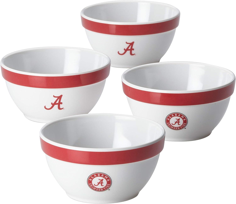 College Kitchen Collection 47677 Alabama Crimson Tide Serving Party Bowls / Mixing Bowls Set / Food Appetizer Serveware - 4 Piece, White 71AB6LvgqWL