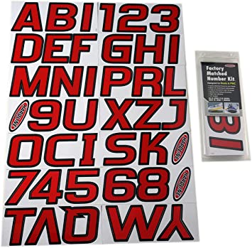 """3/"""" INCH RED//BLACK SHADED BOAT LETTERS,NUMBERS,STICKERS,NUMBER KIT"""
