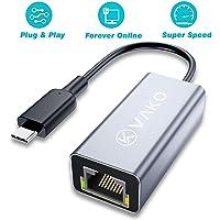 LAN Adapter USB-C-zu-Ethernet-Adapter 1000Mbps USB C zu RJ45 Ethernet Adapter LAN Netzwerkadapterkabel kompatibel für iPad Pro 2018, MacBook Air/Pro, Surface Book 2 und mehr