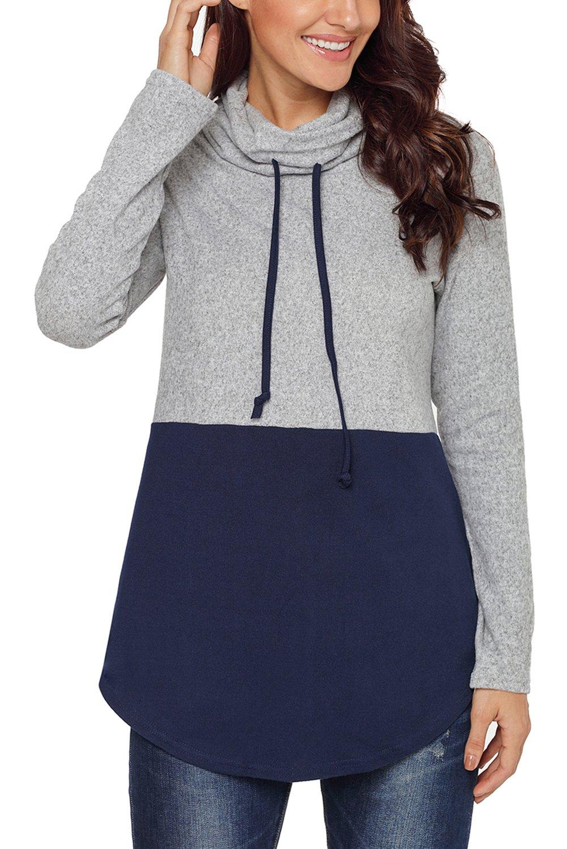 Eytino Women Cowl Neck Drawstring Lightweight Long Sleeve Pullover Sweatshirt Tops,XX-Large Blue
