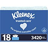 Kleenex Trusted Care Facial Tissues, 18 Flat Boxes, 190 Tissues per Box (3,420 Total Tissues)