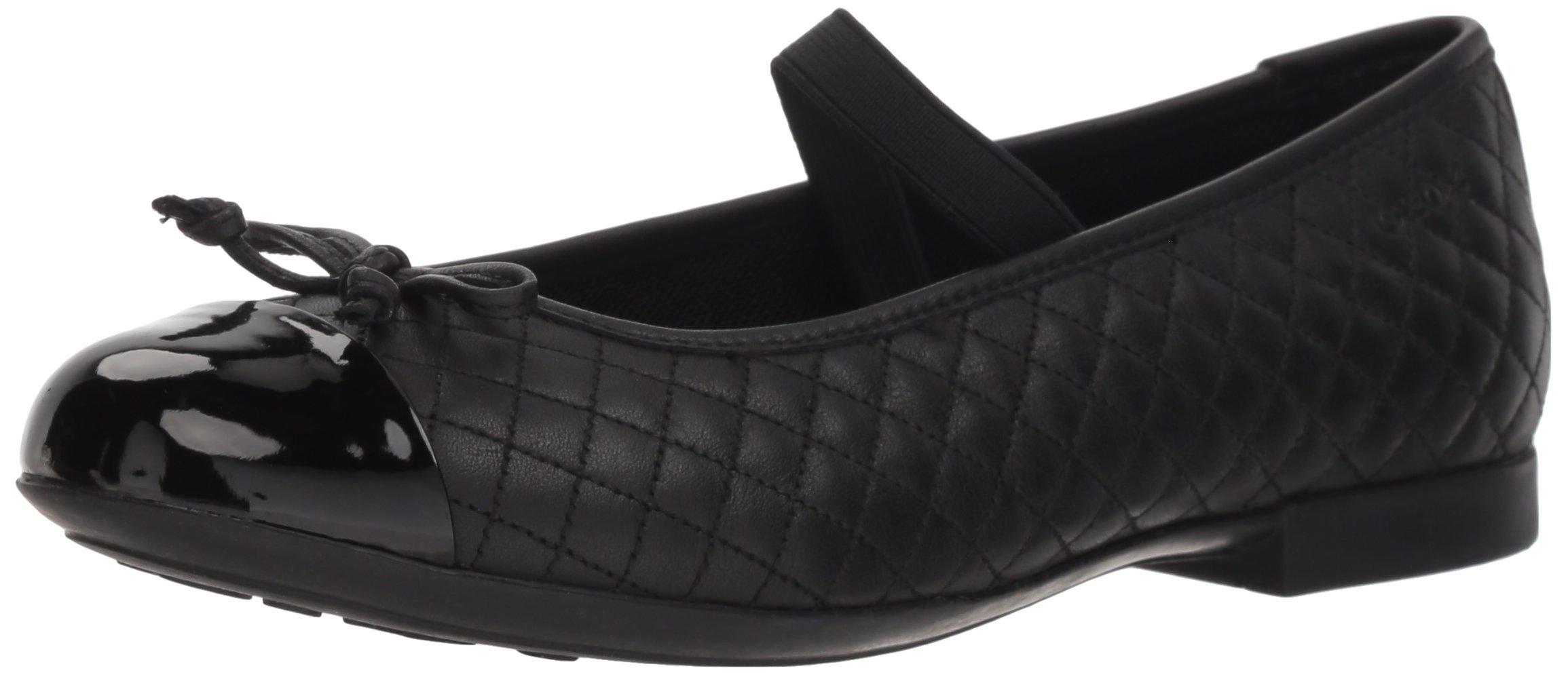 Geox Girls' Plie 49 Quilted Leather Slip-On Ballet Flat Mary Jane, Black, 32 Medium EU Little Kid (1 US)
