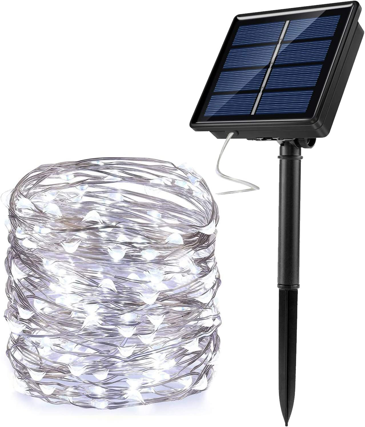 JosMega Upgraded Solar Powered String Fairy Lights 1 Pack 33 ft 100 LED 8 Modes Waterproof IP65 Twinkle Lighting Indoor Outdoor Fairy Firefly Lights Auto ON/Off (1 Pack 33 ft 100 LED, White)