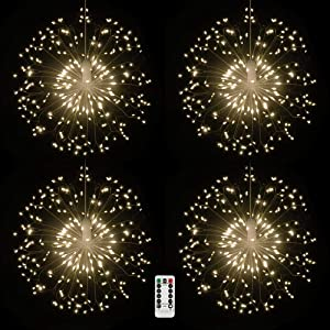 4 packs Firework Lights Copper Wire LED Lights, 8 Modes Dimmable String Fairy Lights with Remote Control, Waterproof Hanging Starburst Lights for Parties,Home,Christmas Outdoor Decoration