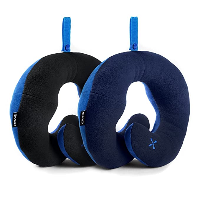 BCOZZY Chin Supporting Travel Neck Pillow - Supports the Head, Neck and Chin in in Any Sitting Position. A Patented Product. Discount- Set of 2. Adult Size, BLACK+NAVY-Best-Popular-Product