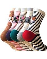 5 Pack Women Funny Cartoon Animal Pattern Socks,Casual and Comfortable Novelty Cotton Art Crew Socks