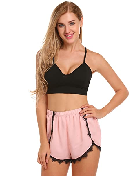 e33a383df5 Goldenfox 2 Piece Cami Pajama Set for Womens Basic Bra Cropped Top and Lace  Patchwork Pj Shorts S-XXL at Amazon Women's Clothing store: