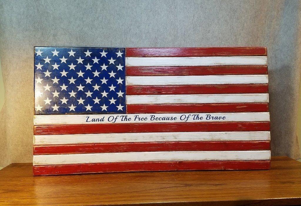 Rustic American Wood Flag Patriotic Military Distressed Hand Painted 20x36