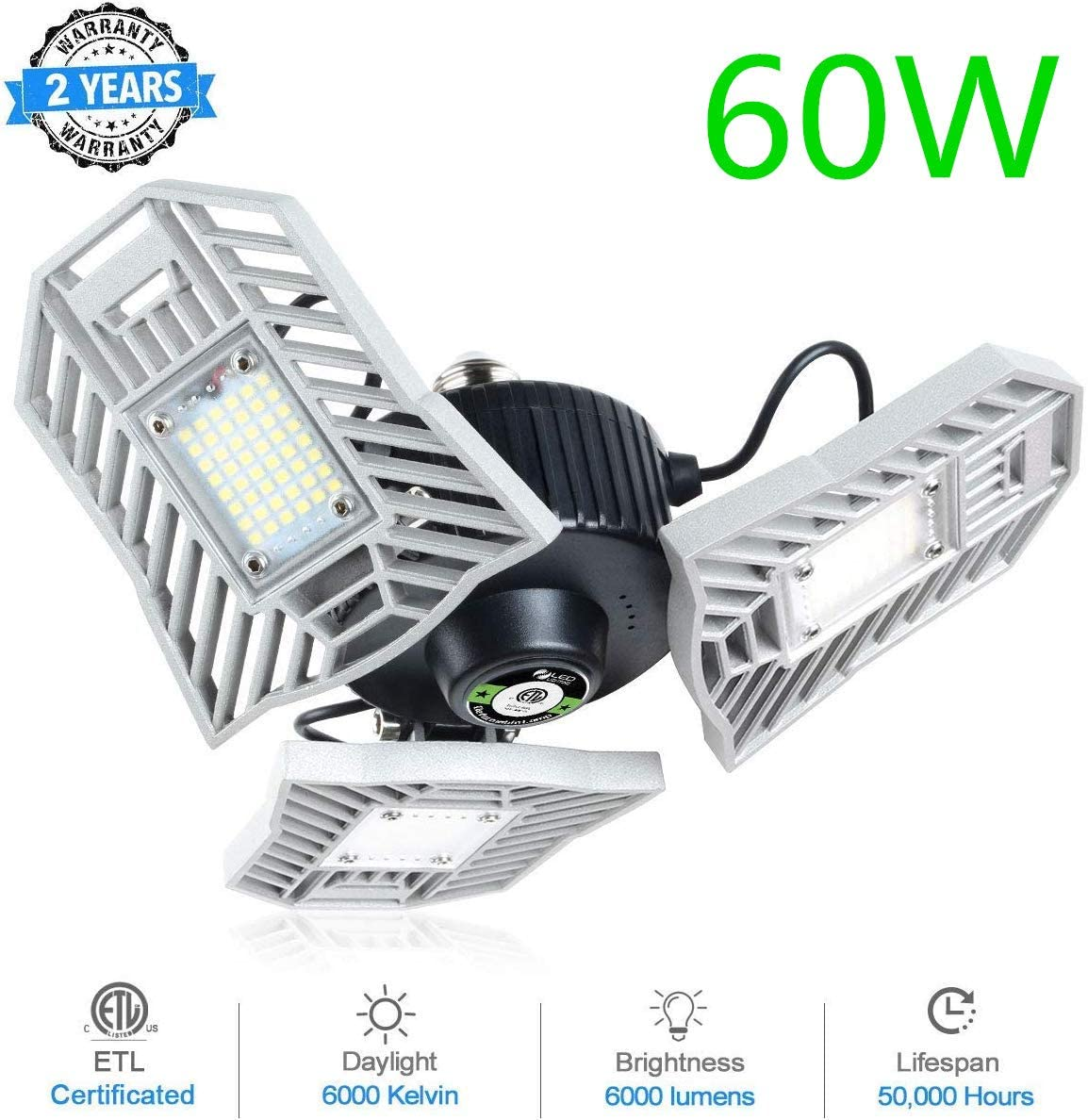 LED Garage Lights, 60W Deformable Garage High Ceiling Light – 6000LM 6000-6500K Motion Activated High Bay Floodlight for Garage Work Shop Basement Storage and Barn 1pack