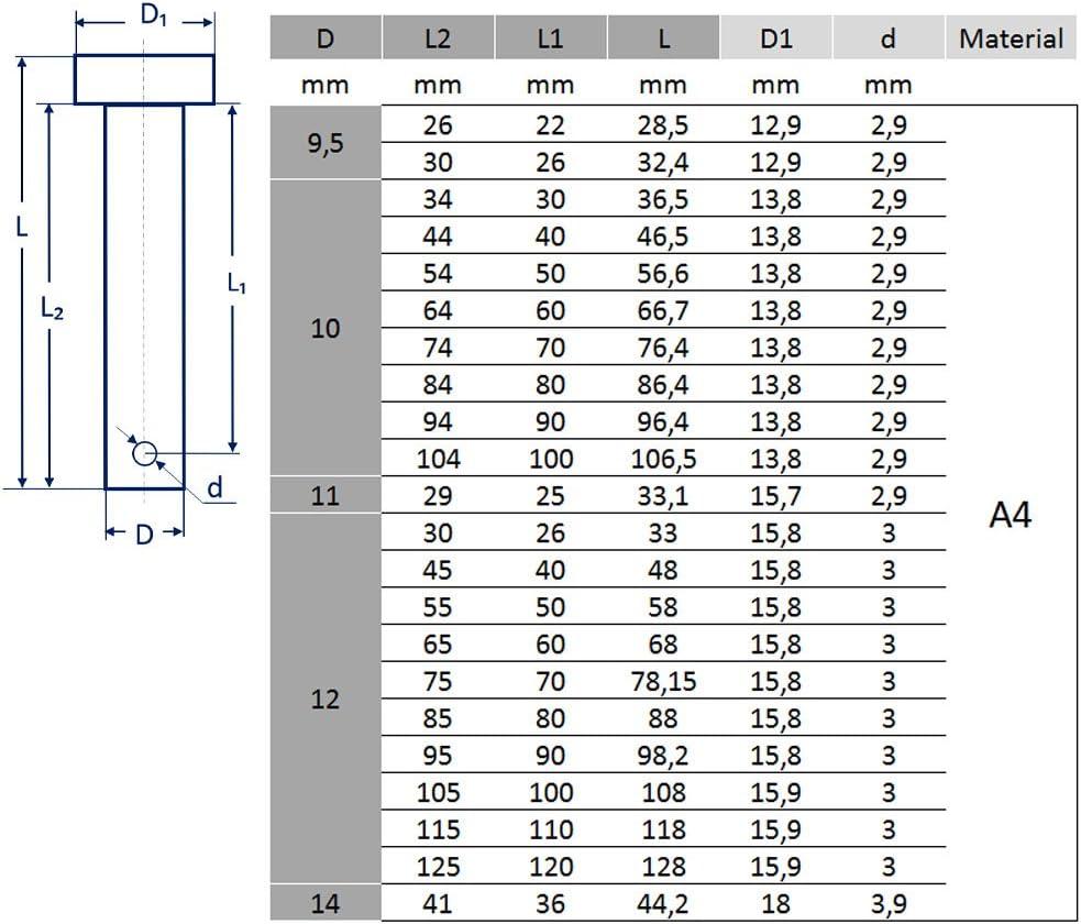 5 unidades Pasador de seguridad 4-14/mm de Bootsteile Braueur/® fabricado en acero inoxidable A4