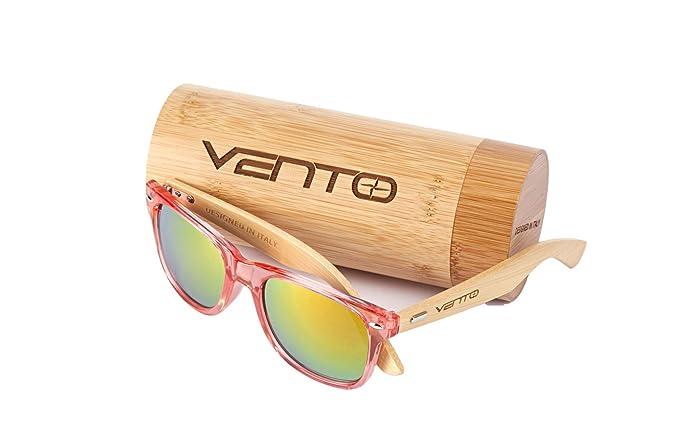 Vento Eyewear® Modelo Chinook RedTwice - Gafas de Sol de Madera de bambú unisex de hombre y mujer, diseñadas en Italia con certificados CE y ...