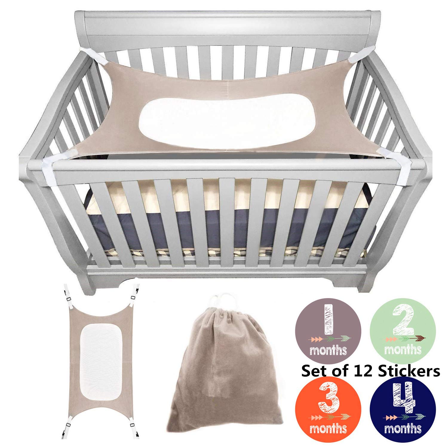 bopopo Baby Hammock for Crib - Mimics Mother's Womb - Infant Hammock 3-Layer Breathable Supportive Mesh Metal Buckle Grey