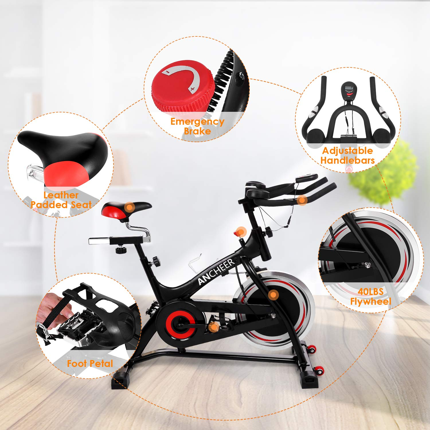 ANCHEER Stationary Bike, 40 LBS Flywheel Belt Drive Indoor Cycling Exercise Bike with Pulse, Elbow Tray (Model: ANCHEER-A5001) (Black) by ANCHEER (Image #8)