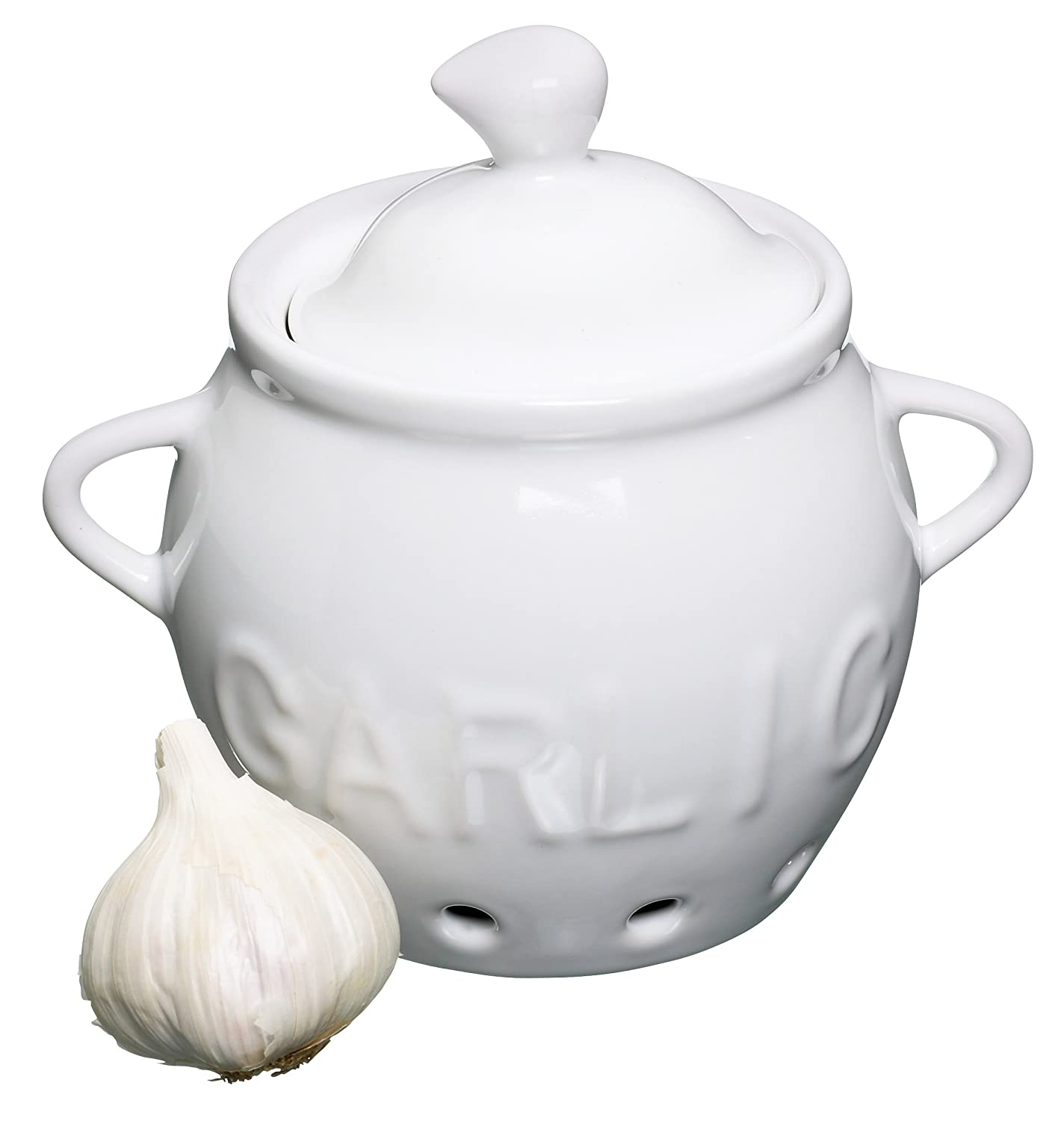 White Porcelain Garlic Storage Pot - Kitchen Craft KCGARCER