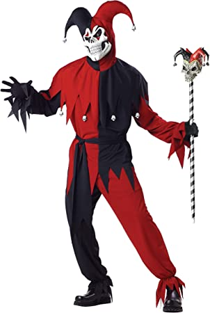 California Costumes - Disfraz De Bufón Malvado / Joker Rojo Negro ...